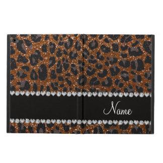 Custom name chocolate brown glitter leopard print powis iPad air 2 case