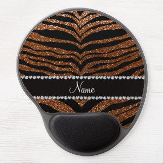 Custom name chocolate brown glitter tiger stripes gel mousepad