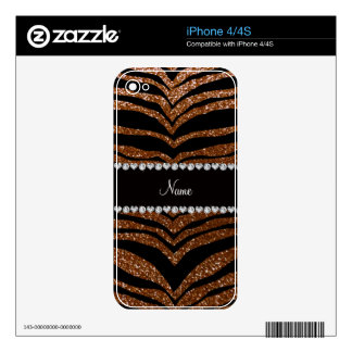 Custom name chocolate brown glitter tiger stripes skins for iPhone 4S