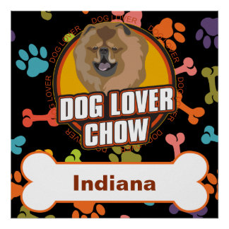 Custom Name Chow Dog Lover Bone Puppy Paws Poster