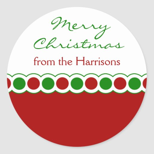 Custom Name Christmas Dot Stickers