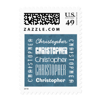 Custom Name CHRISTOPHER or ANY NAME Blue A06 Stamp