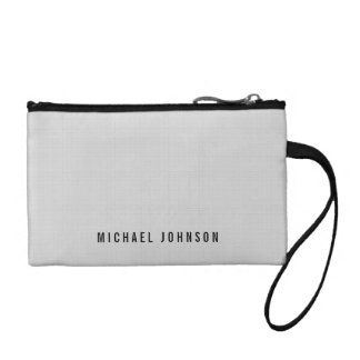Custom Name Classic Faux Linen Silver Grey Change Purse