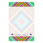 [ Thumbnail: Custom Name + Colorful Nested Squares Pattern Stationery ]