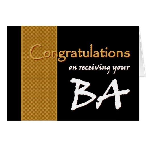 CUSTOM NAME Congratulations - Bachelor of Arts BA Card