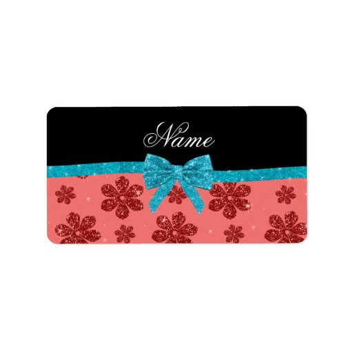 Custom name coral pink glitter flowers bow address label