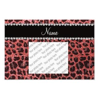 Custom name coral pink glitter leopard print photograph