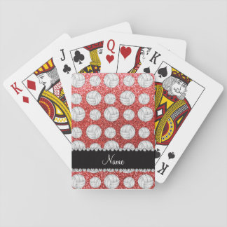 Custom name coral pink glitter volleyballs playing cards