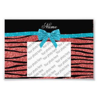 Custom name coral pink glitter zebra stripes bow photo print