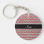 Custom name coral pink silver glitter chevrons keychains