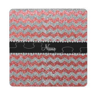 Custom name coral pink silver glitter chevrons puzzle coaster