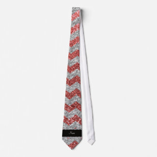 Custom name coral pink silver glitter chevrons tie