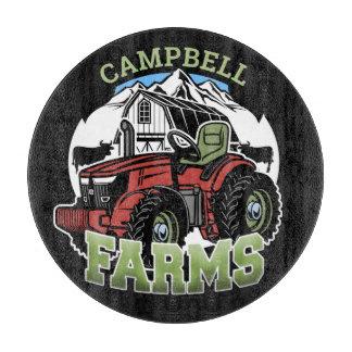 Custom NAME Country Farms Barn Tractor Farmer Cutting Board