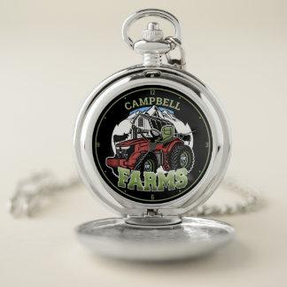 Custom NAME Country Farms Barn Tractor Farmer Pocket Watch