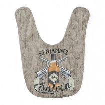 Custom NAME Cowboy Revolver Gun Whiskey Saloon Baby Bib