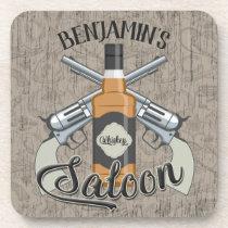 Custom NAME Cowboy Revolver Gun Whiskey Saloon Beverage Coaster
