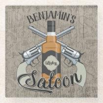 Custom NAME Cowboy Revolver Gun Whiskey Saloon Glass Coaster