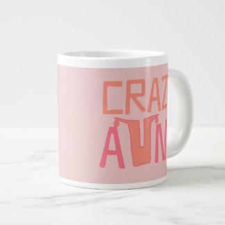 Custom Name Crazy Aunt Pink Large Coffee Mug