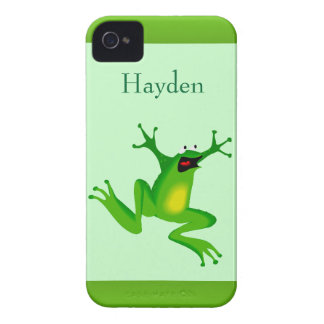Custom Name Crazy Cartoon Jumping Frog Animal iPhone 4 Cover