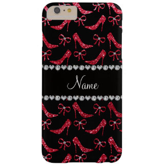 Custom name crimson red glitter high heels bow barely there iPhone 6 plus case