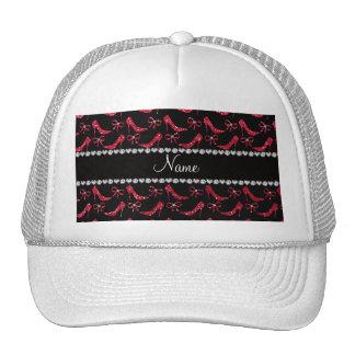 Custom name crimson red glitter high heels bow trucker hats