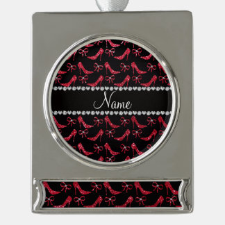 Custom name crimson red glitter high heels bow silver plated banner ornament