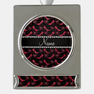 Custom name crimson red glitter high heels bow silver plated banner ornament