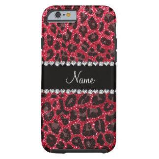 Custom name crimson red glitter leopard print tough iPhone 6 case