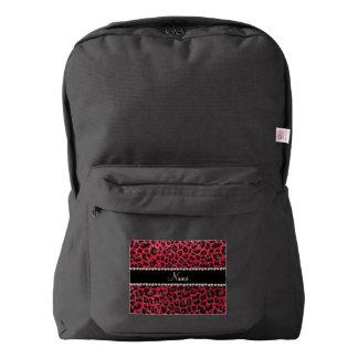 Custom name crimson red glitter leopard print backpack
