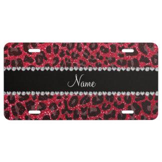 Custom name crimson red glitter leopard print license plate