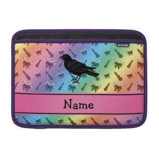 Custom name crow rainbow snowmen candycanes MacBook air sleeve