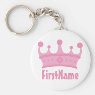 Custom Name Crown Basic Round Button Keychain