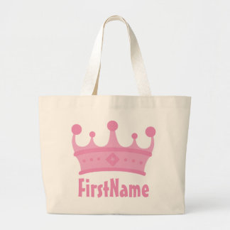 Custom Name Crown Large Tote Bag