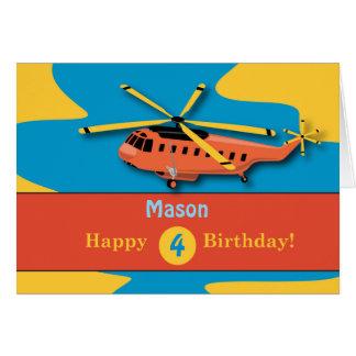 Custom Name, Custom Age, 4th Birthday with Helicop Card