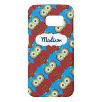 Custom Name Cute Blue and Red Owl SG7 Case
