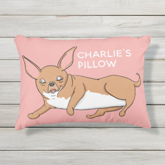 Custom Name Cute Chihuahua Cartoon Pillow