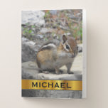 [ Thumbnail: Custom Name & Cute Chipmunk Like Critter On a Rock Pocket Folder ]