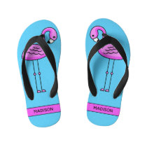 Custom name Cute Flamingo flip flops