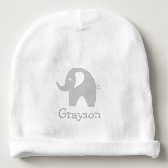 Custom name cute grey elephant baby beanie hat  1bed60a57