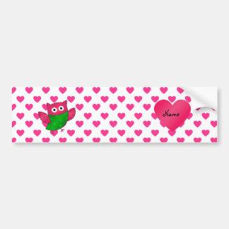 Custom name cute owl pink hearts bumper sticker