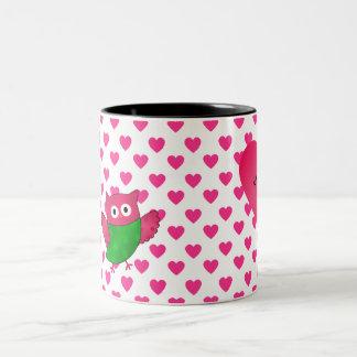 Custom name cute owl pink hearts mugs