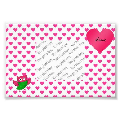 Custom name cute owl pink hearts photo art