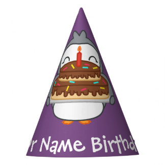 Custom Name Cute Penguin Birthday Paper Hat