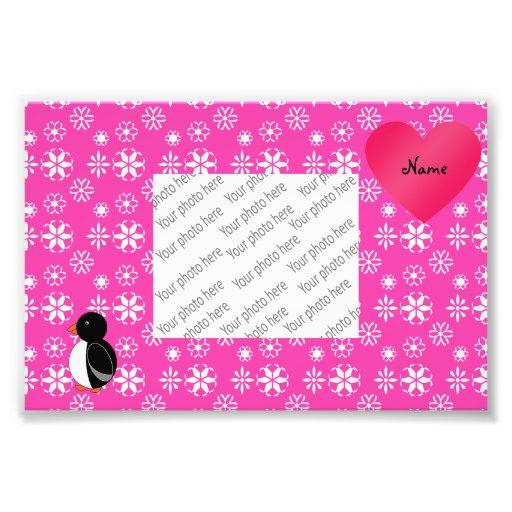 Custom name cute penguin pink snowflakes heart photo art