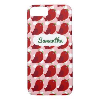 Custom Name Cute Red Bird iPhone 7 Case