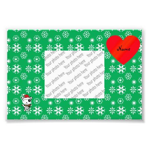 Custom name cute santa dog green snowflakes heart photo