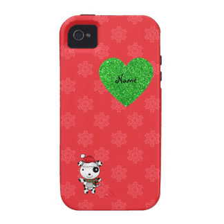 Custom name cute santa dog red snowflakes heart vibe iPhone 4 cases