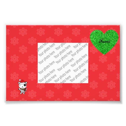 Custom name cute santa dog red snowflakes heart photo