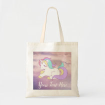 Custom Name Cute Sleepy Unicorn in the Clouds Tote Bag