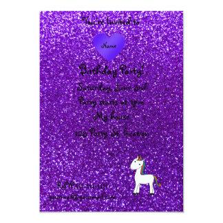 Custom name cute unicorn purple glitter heart custom invitation